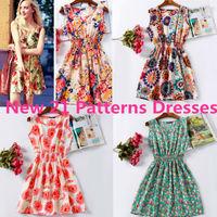 2015 New 21 Styles Women Casual Dress Vestidos Elastic Waist Sleeveless Clothes Bohemian Beach Chiffon Summer Dresses Tropical