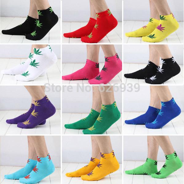 High Quality 20 Colors Men's Weed Socks Men Women Sports Marijuana Style Skateboard Cotton Calcetines Hip Hop Socks Meias WZ008(China (Mainland))