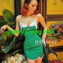 WILD CAT Glamorous PIN UP sexy Emerald lace herringbone recoil tube top GREEN dress JWC021(China (Mainland))