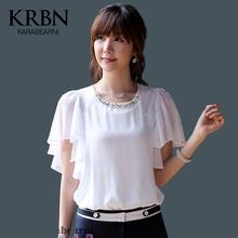 Blusas femmes blouses en mousseline de soie blusa feminina casual chemises femmes camisas femininas o - cou manches volants Tops blouse solide K8258(China (Mainland))