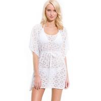 Women Swimwear Crochet Cover Up Kaftan Beachwear with Waist Tie S M L XL