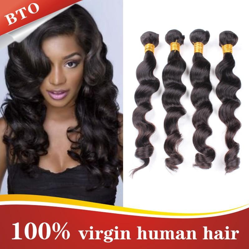 5A grade Brazilian human hair unprocessed 4 pieces lot natural black 8-30 inch Brazilian loose wave, Virgin 100 human hair(China (Mainland))
