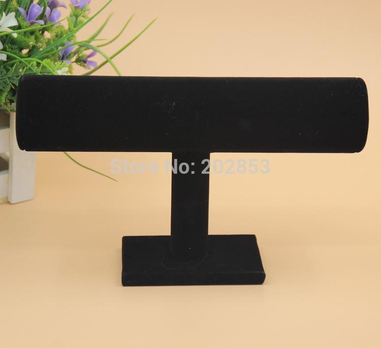 1pc/lot Black velvet single tier bracelet jewelry holder stand watch frame headband storage rack T-bar bangle organizer shelf(China (Mainland))