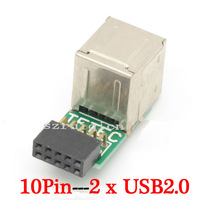 10 Pin (9-Pin) Motherboard to 2 Ports USB 2.0 A Female Internal Header Adapter
