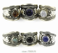 R003   Tibetan silver inlaid Turquoise Dorje Amulet Ring,Nepal Original Antiqued Man Ring Wholesale Tibet Rings