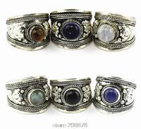 R003 Tibetan silver inlaid Various Stone Glass Bead Dorje Amulet Ring,Nepal Original Antiqued Man Ring Wholesale Tibet Rings