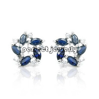 Stud earring Free shipping Natural real sapphire 925 sterling silver earrings Fashion jewelry  Blue gems
