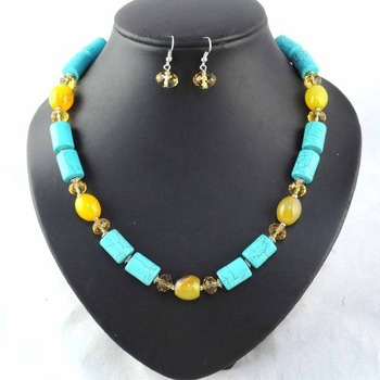 free shipping , costume beaded necklaces jewelry set , with earrings ,NL-892