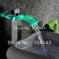 Single Handle Color Changing LED Chrome Waterfall Bathroom Basin Faucet   NB031