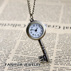 Antique key fashion alloy pendant watch necklace &pocket watch &christmas gift & free shipping(China (Mainland))