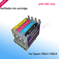 4pcs T0611  refillable ink Cartridges for epson D68 D88 DX3800 DX3850 DX4800 DX4850