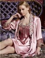 2013 For 4 seasons Women's long Dress Sexy Silk robe costume Sexy Full Slips (Vest+Slip) Pink Lace Dress Sleepwear Fee Shipping