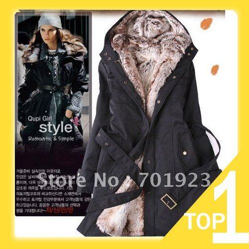 Faux fur lining women's fur coats winter warm long coat jacket clothes wholesale Free Shippi ...