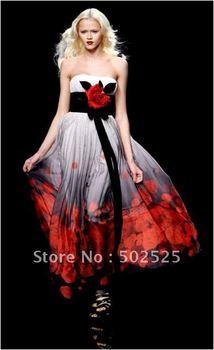 100% Silk New Design Printing Fabric Evening Dress OL101542