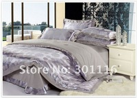 FREE SHIPPING 4pcs Noble Jacquard King Silk bedding set/Bed Linen /Duvet Cover /Bed Sheet