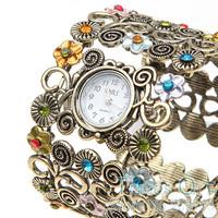 Fashion Flower Bracelet Bangle Watch Women Girl Watches Dress Quartz Wristwatch