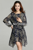 Spring 2014 New Full Sleeve Ladies' Dresses Women's Sexy Dresses 3colors Chiffon Fashion Girl's Long Vestidos free shipping