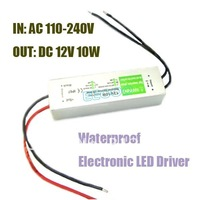 DC 12V 0.83A 10W 3528 5050 LED Light Driver Power Supply DIY Waterproof Source Input voltage 110~240V Fit worldwide