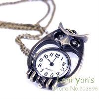 10pcs/lot Rhinestone Eye Owl Quartz Pocket Watch Pendant Necklace Watches