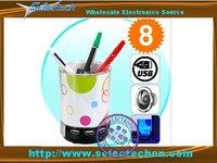 Desk Buddy with 4 port USB Hub and Speaker and Pen Holder and Light for Christmas gift SE-K100
