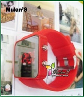 Mulan'S 45pcs/lot New arrival 12colors High Quality Plastic Border Led watch Led Mirror Watch , FREE SHIPPING DHL