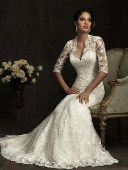 Elegant V-neck 3/4 Sleeve Lace Covered Back Wedding Dresses PM474