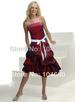 free ship, special, strapless bridesmaid dress, ball gown,short dress,claret