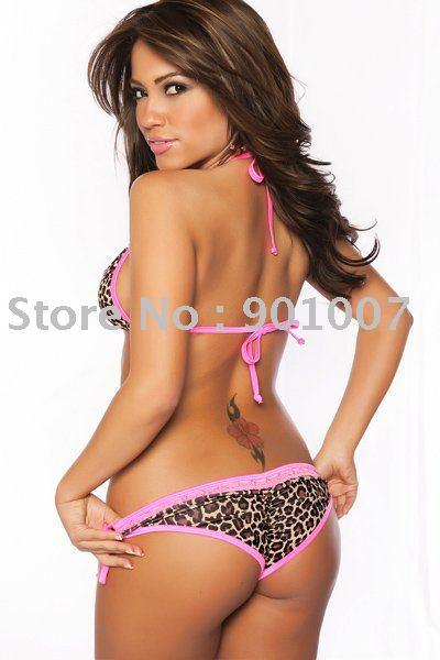 Женское бикини retail New leopard line Bikini swimwear women with pink lace lingerie beachwear hot swimsuit 3016