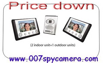 Price down China wholesales 7 inch Color TFT LCD Video Door Phone with 2 Indoor Units  night vision function