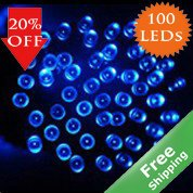 Solar Fairy lights+100 Blue LED lights+100% solar power+Free shipping