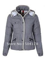 Wholesale Retail Brand Lady's Short Winter Down Jacket Color Grey Hood Warm Women Down Coat Size XS S M L XL XXL Free Shopping