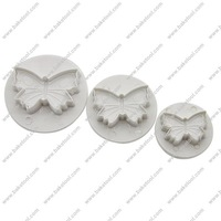 Free shipping,Plastic 3pcs Butterfly shape cake fondant plunger cutters