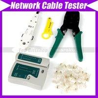 network Cable Tester RJ45  RJ12 CAT5 CAT5e 10/100BaseT+ Punch Tool+Crimp Tool #352