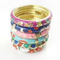 10mm Cloisonne Bangles Enamel Bracelets 10pcs/lot Mixed colors and designs