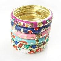 10mm Cloisonne Bangles Enamel Bracelets 10pcs/lot Mixed colors and designs