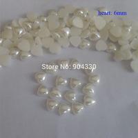 Free Shipping! Ivory 2000pcs 6MM Heart Flatback Imitational Pearls DIY Decoration Scrapbooking Beads