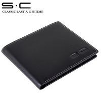S.C Free Shipping wholesale + genuine leather Wallet for men + Classic Leather purse + 2013 fashion designer purses QC0007-1