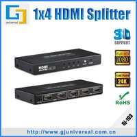 Free Shipping 1x4 Powered HDMI Splitter 1x4 HDMI Splitter Support 3D 1080P With CE FCC