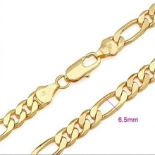 Classic 18k Gold Plated Necklaces For Men Link Chain Necklace Charm Fashion Jewelry Free shipping N18K