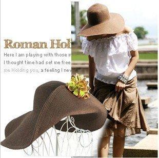 Hawaii Combination Cap Hats Sunshade Beach SunCap Straw 9 colours(China (Mainland))