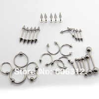 free shipping 1000pcs/LOT Assorted Basic Steel Body Jewelry,  Straight Barbells, Banana, CBRS, Circulars and Labrets, Nose Rings