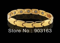 "Wholesale Popular hot sell Guaranteed 100% Tungsten carbide inlay Stone plating Gold Health man's Bracelet 8.5"" + free shipping"