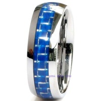 8mm Mens Blue Fiber Inlay Mens Tungsten Carbide Dome Comfort Fit Wedding Band Ring Size 6 - 13
