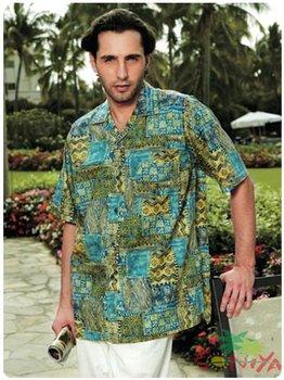 Cotton Aloha Shirt Short Sleeved Free Shipping Irregular Geometric Drawing Printed Hawaii Retail and Mix Order