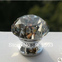 Sparkling diamond crystal cabinet knob\20pcs lot free shipping\30mm\zinc alloy base\chrome plated