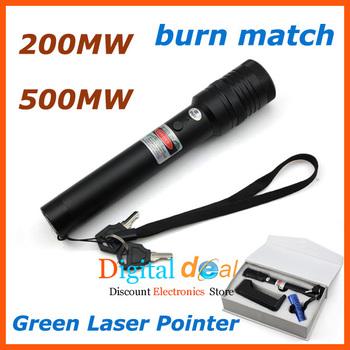 High Power Green Laser Pointer 200MW 500MW adjustable star burn match +Li-ion Battery+charger