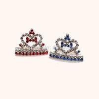 6Pcs(each stone color way 3pcs) lot free shipping rhinestone heart bone crown tiara pets girls barrette hair jewelry