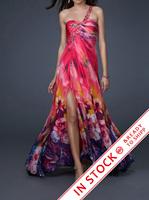 New Printing Fabirc Beading Handwork one shoulder Evening Dresses OL101616