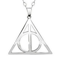 Free shipping man style Harry Potter the Deathly Hallows 925 sterling silver triangle pendant geometry figure without chain