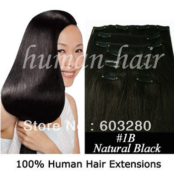 "15""18""20""22""24"" Remy Clips in Brazilian human hair #1B natural black color 70gram/80gram/100gram containing 7pieces/pack"